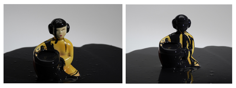 Untitled blac drip 08 diptych