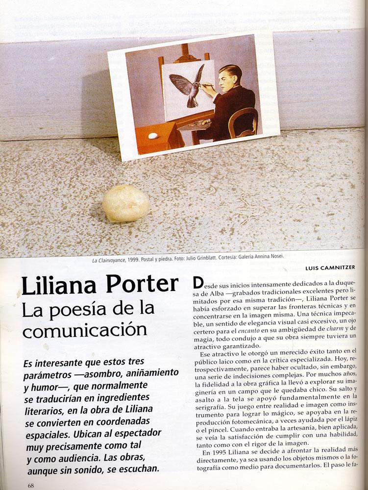 Revista art nexus  liliana porter la poesia de la comunicac